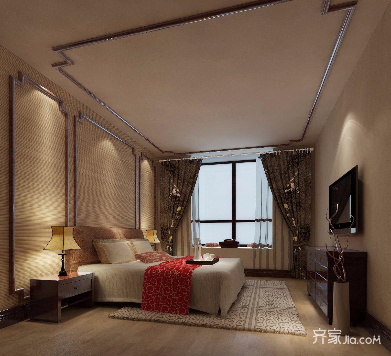 120㎡中式装修卧室效果图