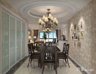 130平欧式风格装修餐厅效果图
