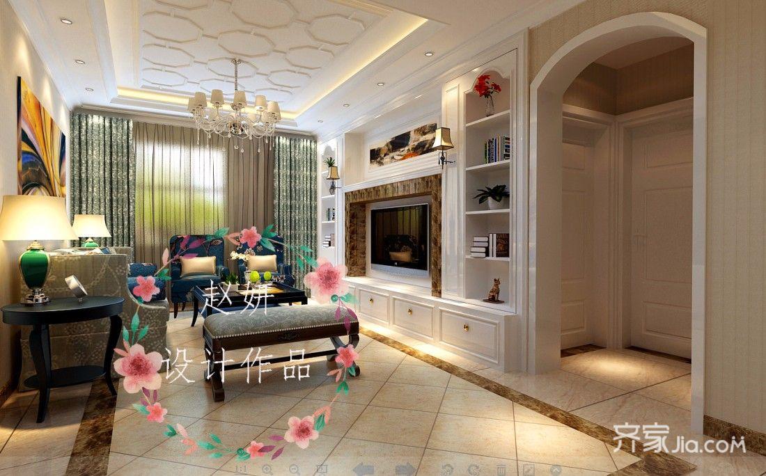 160平欧式风格装修客厅效果图