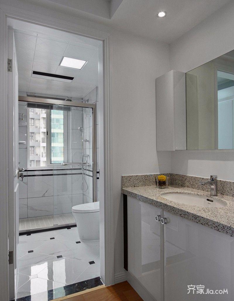 二居室简约风格装修卫生间实景图