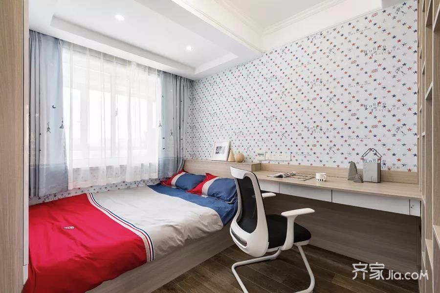 三居室简约风格装修客房装潢图