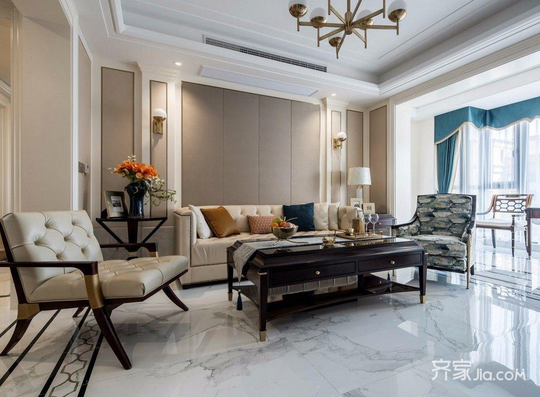 美式110平米装修设计客厅效果图