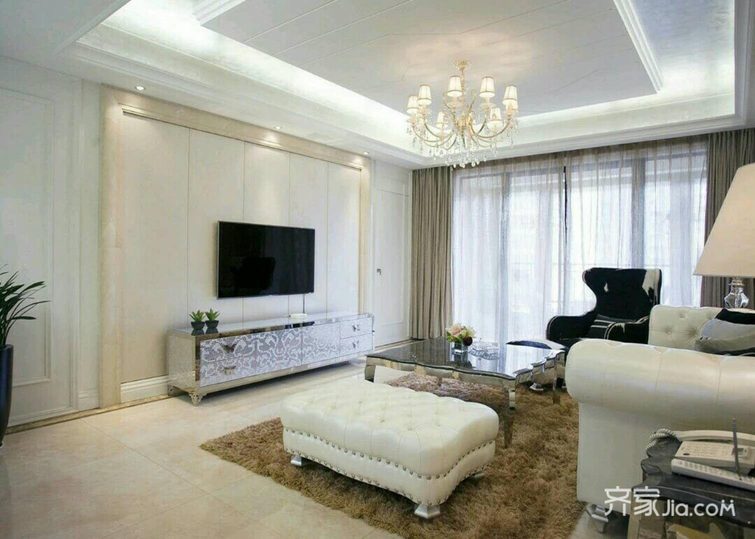 100平欧式风格装修客厅效果图