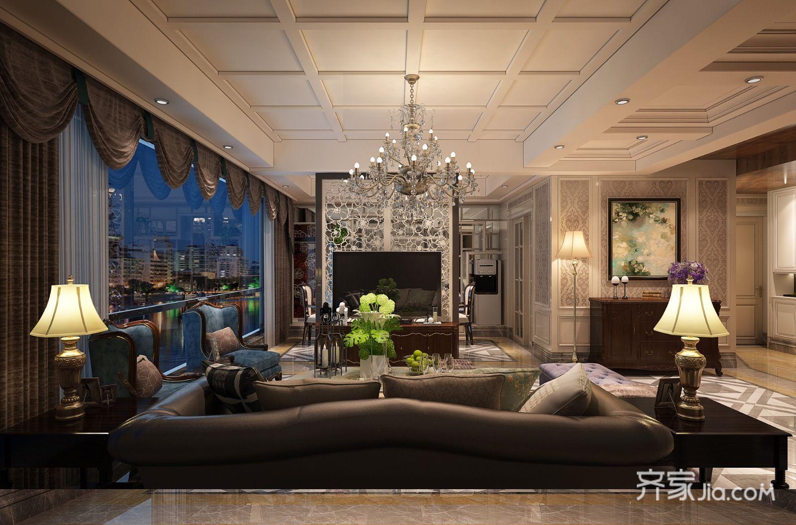 华丽大气的欧式风格装修客厅效果图