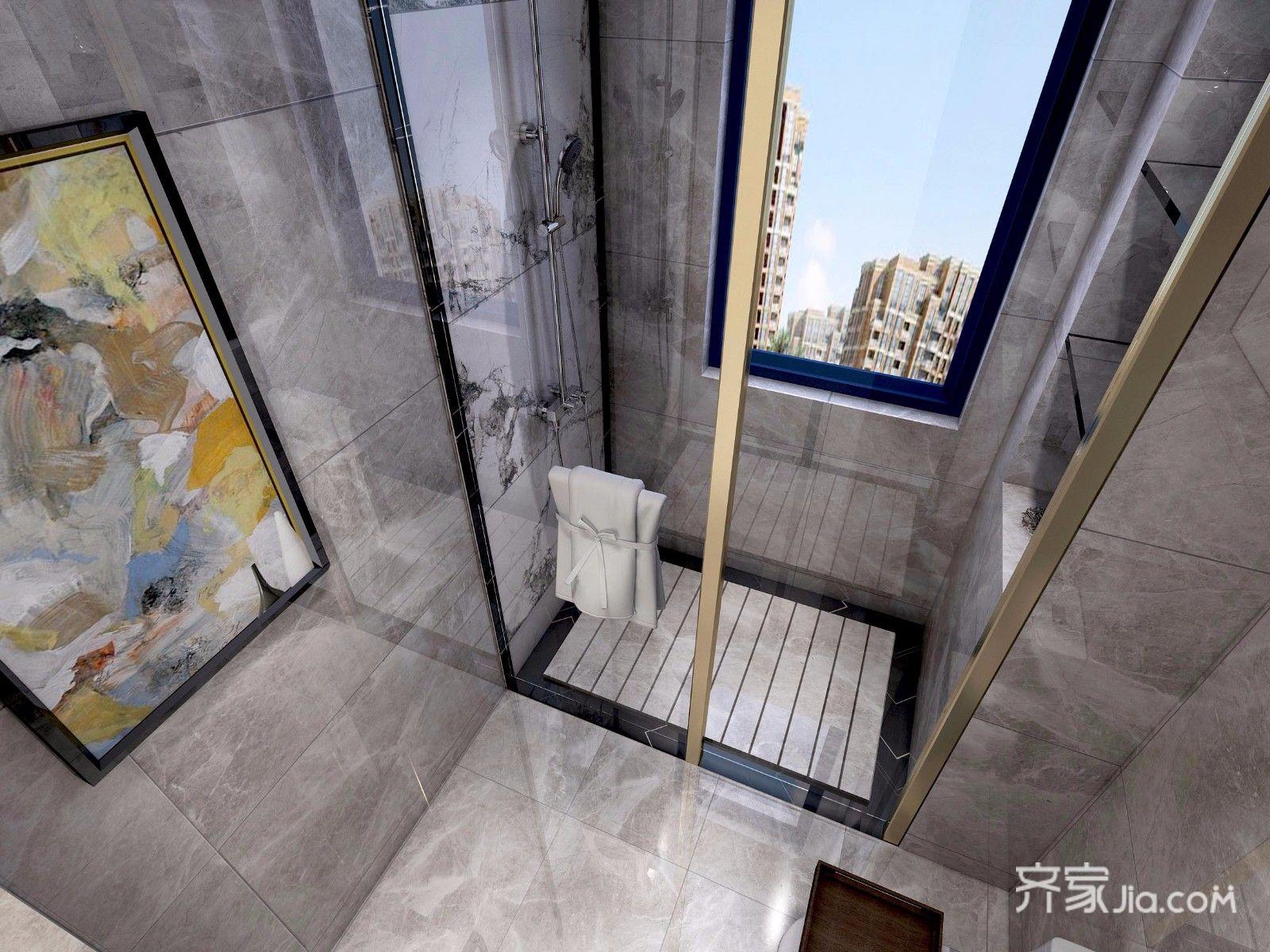 干净利落的美式风格装修浴室实景图