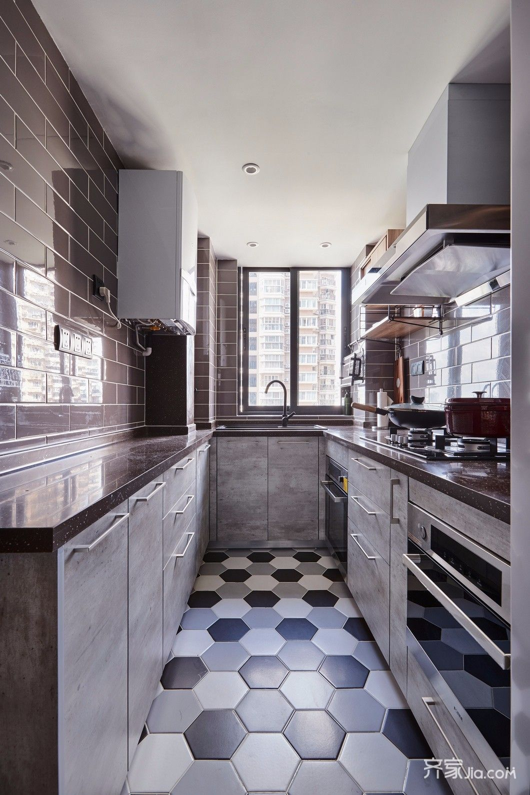 140平简约风格装修厨房实景图