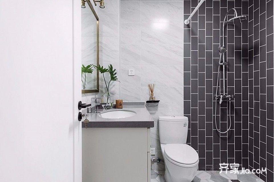120平北欧风格装修卫浴间实景图