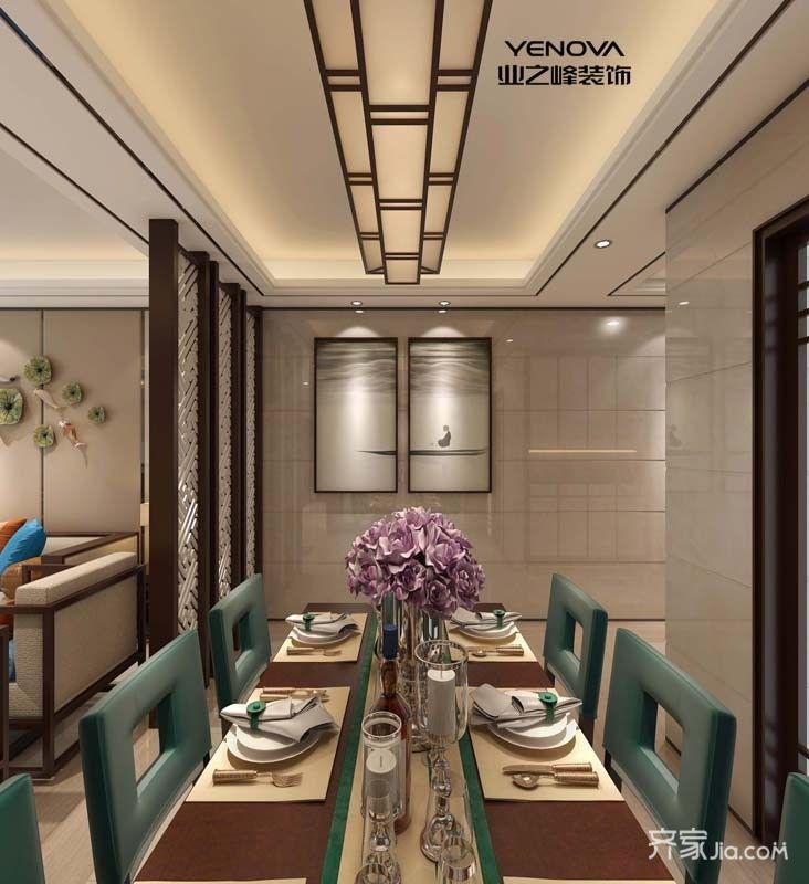 130平中式风格三居室装修餐桌布置图