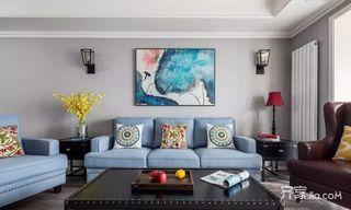 120㎡美式风格三居室装修客厅背景设计图