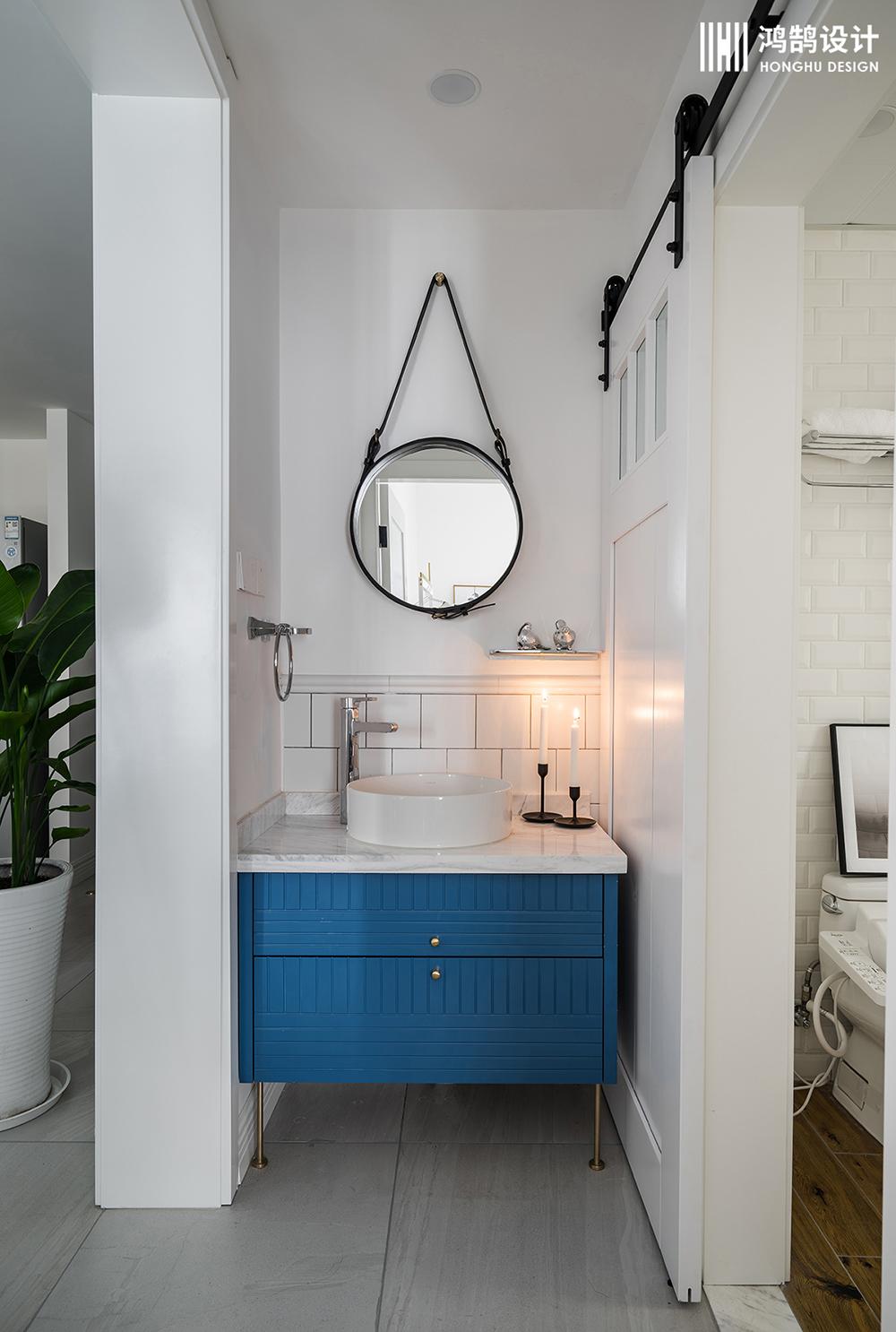 85㎡北欧风两居装修浴室柜图片
