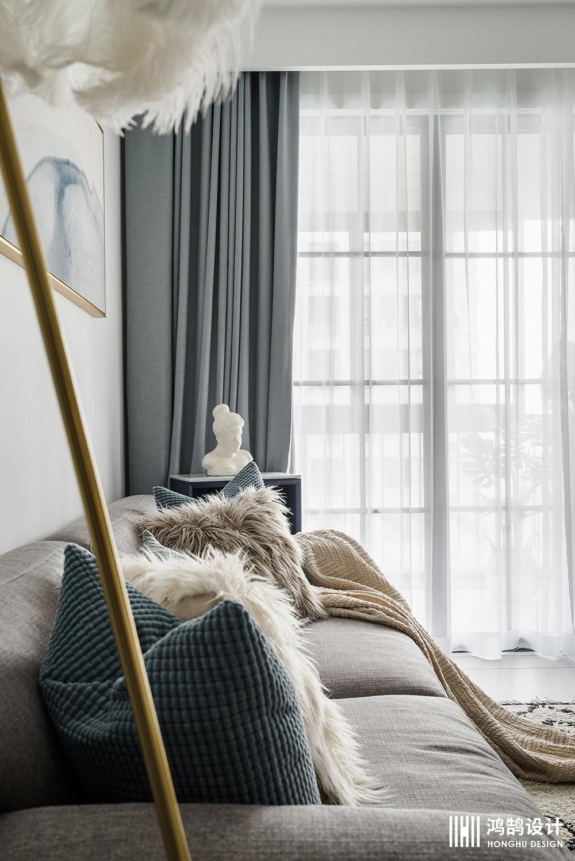 85㎡北欧风两居装修窗帘图片