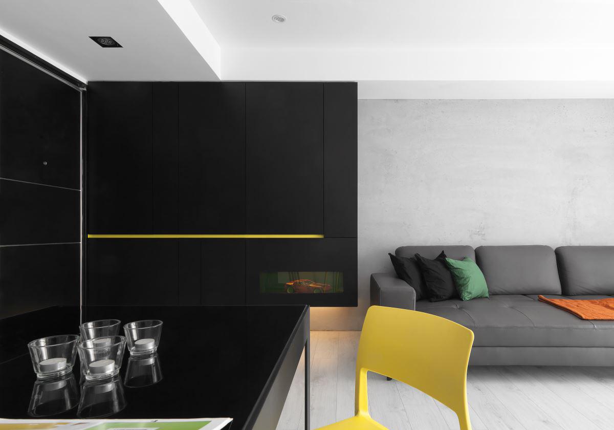 黑白极简现代风装修客厅一角