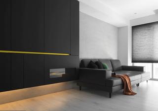 黑白极简现代风装修沙发效果图