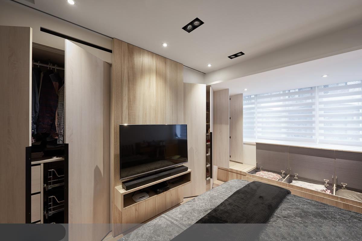 73平原木简约风二居装修卧室电视背景墙设计图