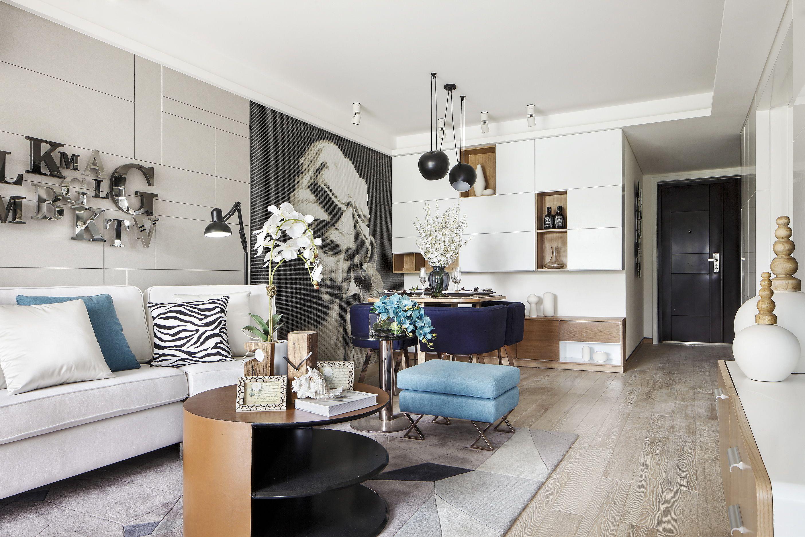 现代风格二居室装修沙发背景墙效果图
