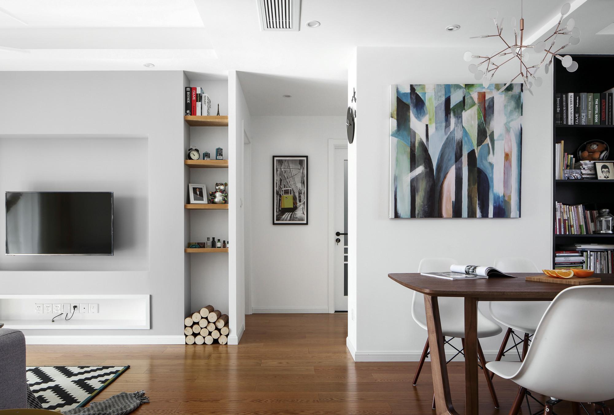 85平二居北欧风格装修电视背景墙效果图