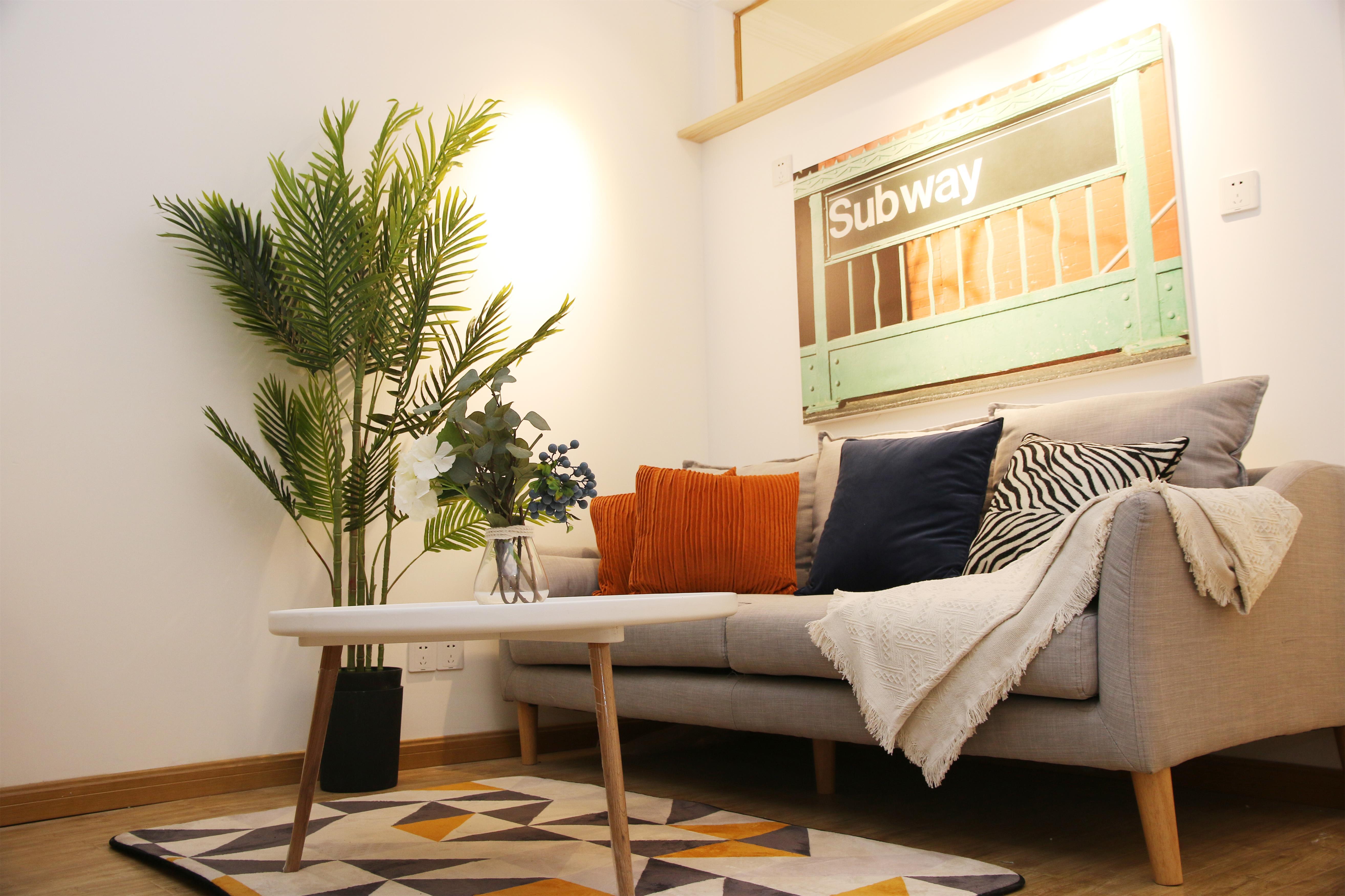 北欧简约三居室公寓装修沙发效果图