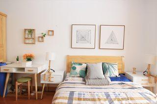 40平自然简约风公寓装修卧室背景墙图片