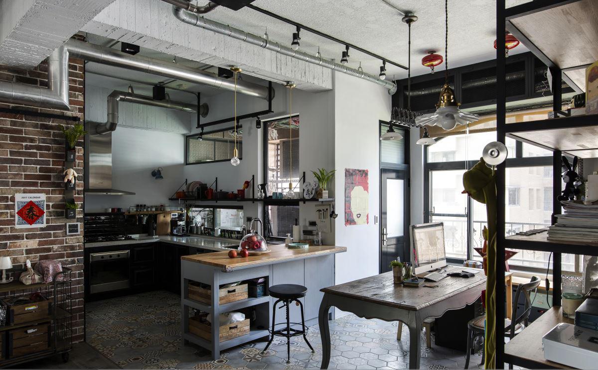 140平Loft工业风装修厨房装修效果图