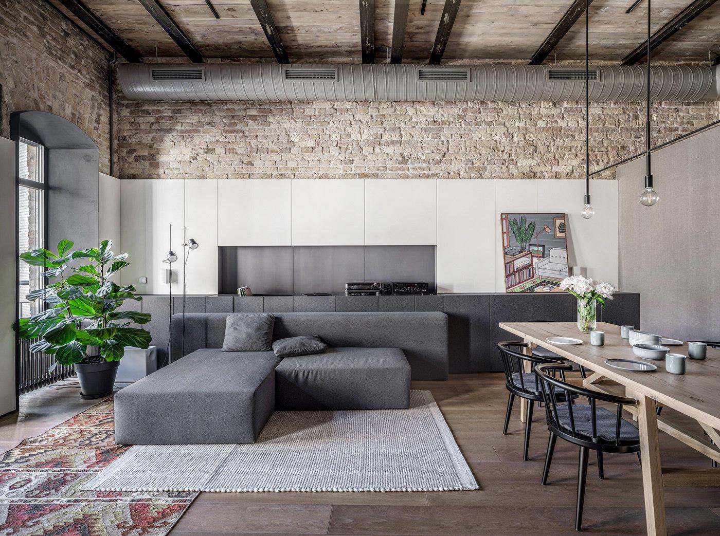 Loft工业风别墅沙发背景墙装修效果图