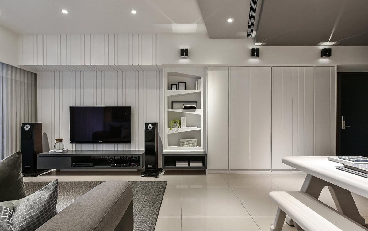 现代简约风格二居室电视背景墙装修效果图