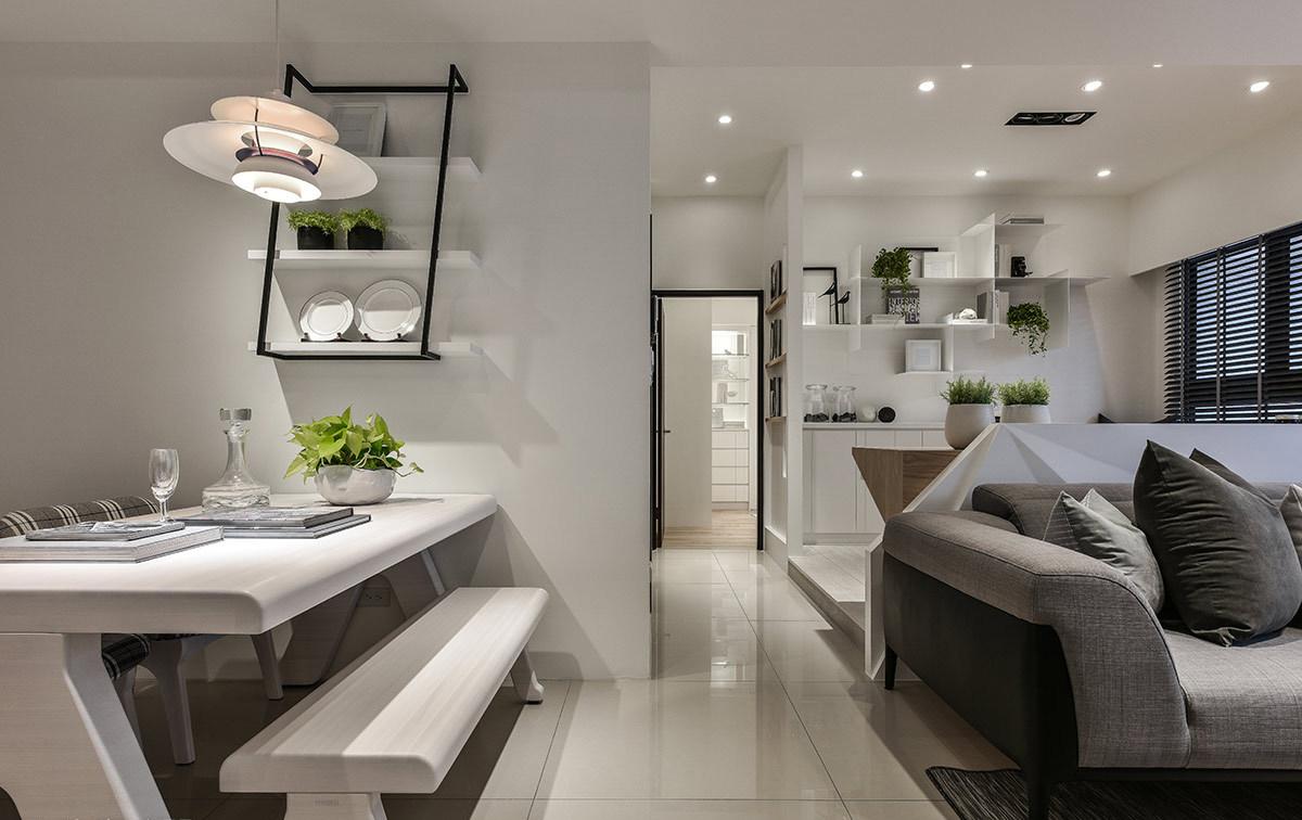现代简约风格二居室装修餐桌设计图