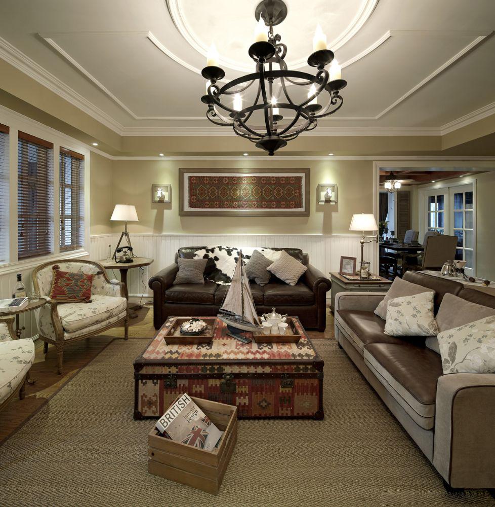 美式田园风格三居装修客厅搭配图