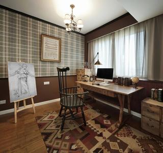 美式田园风格三居书房装修效果图