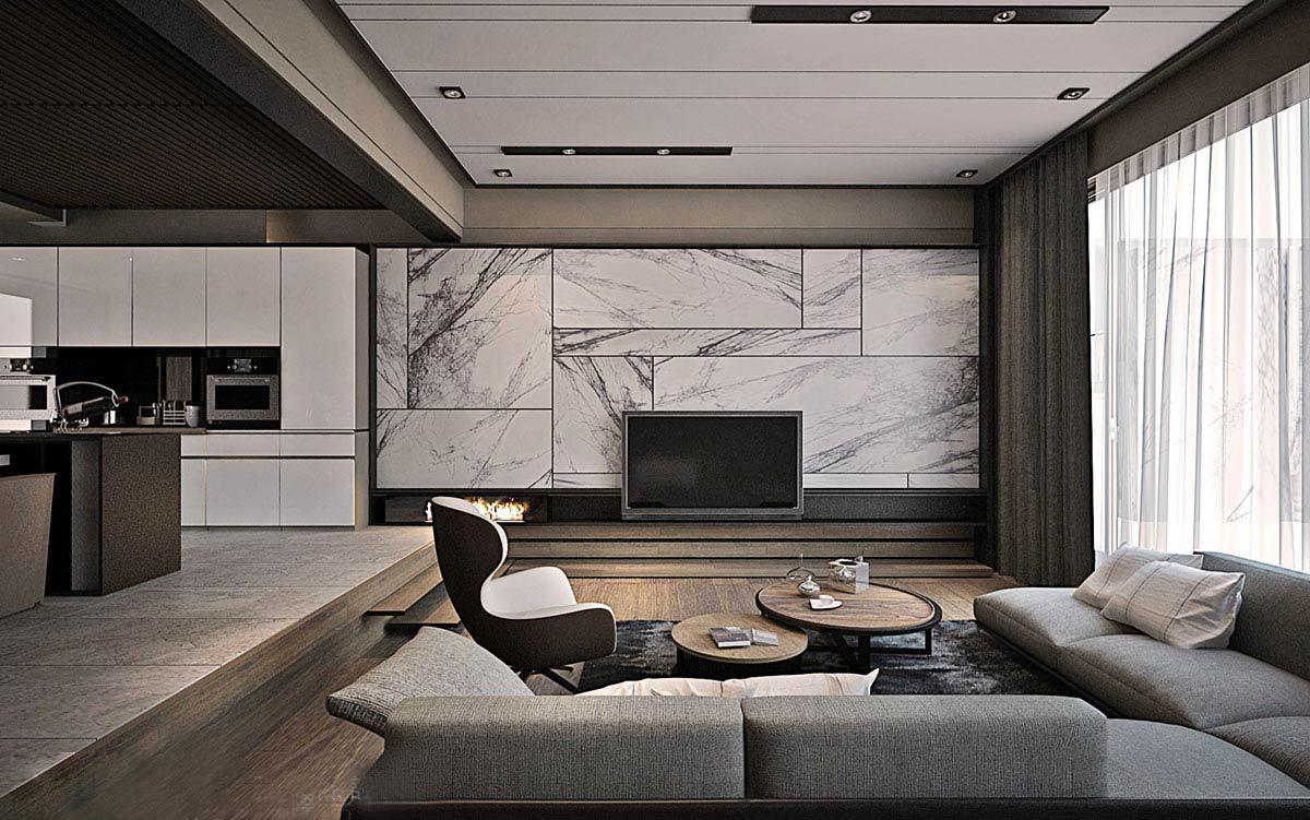 现代风格别墅电视背景墙装修设计效果图