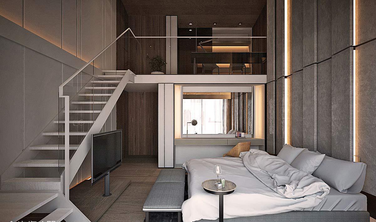 现代风格别墅装修卧室布局图