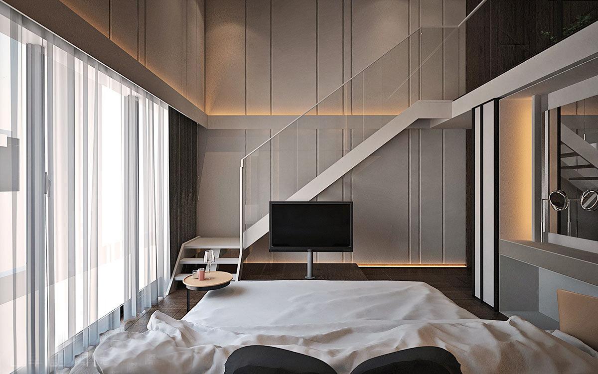 现代风格别墅装修楼梯设计效果图