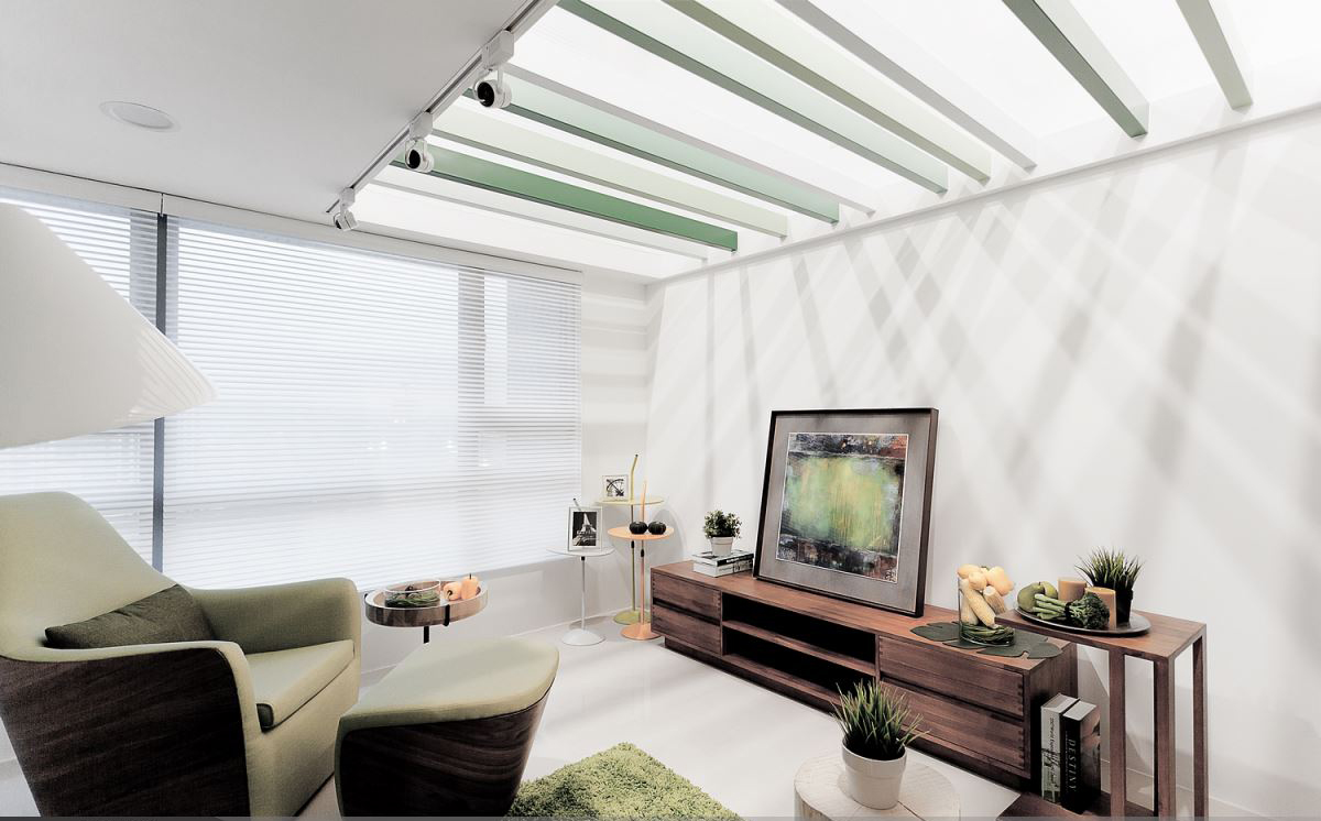 60平简约清新公寓装修电视柜效果图