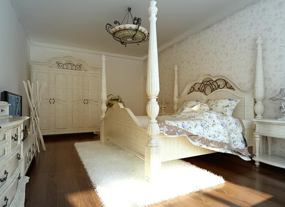 85平田园风格二居卧室装修效果图