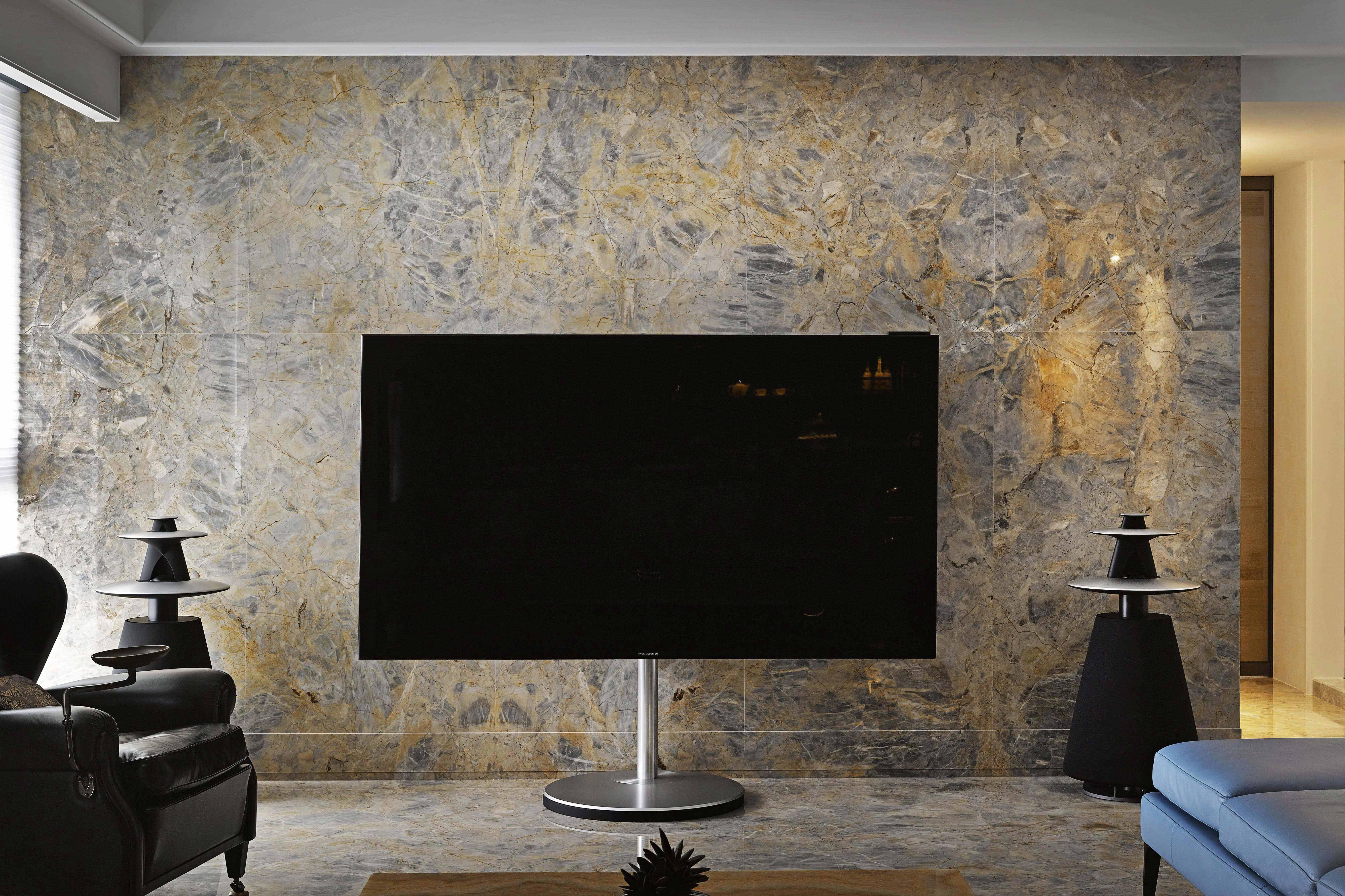 混搭风格三居室装修电视背景墙特写