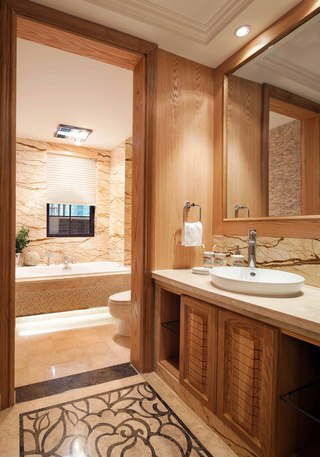 150平欧式风格三居装修浴室柜设计图