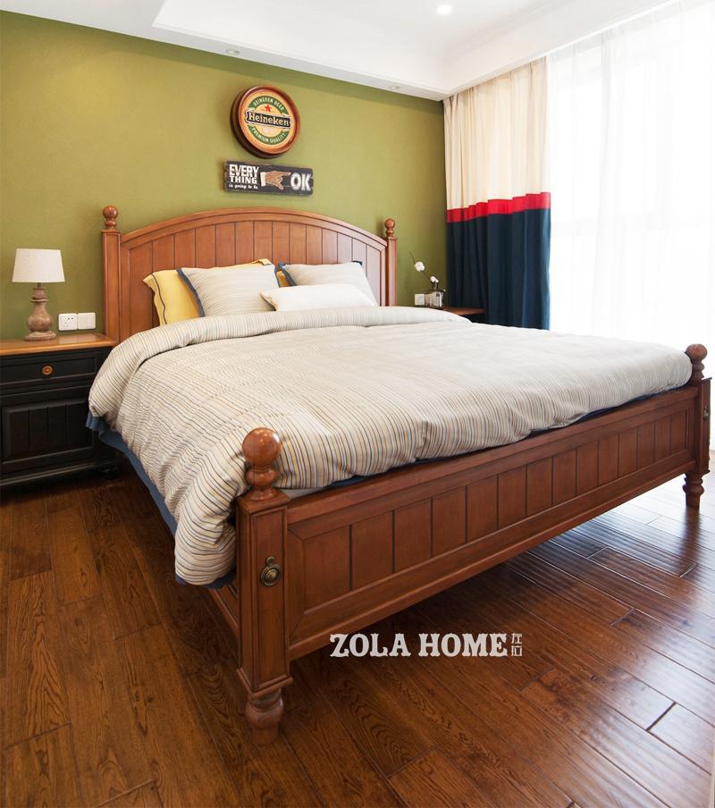 美式田园风格二居卧室装修效果图