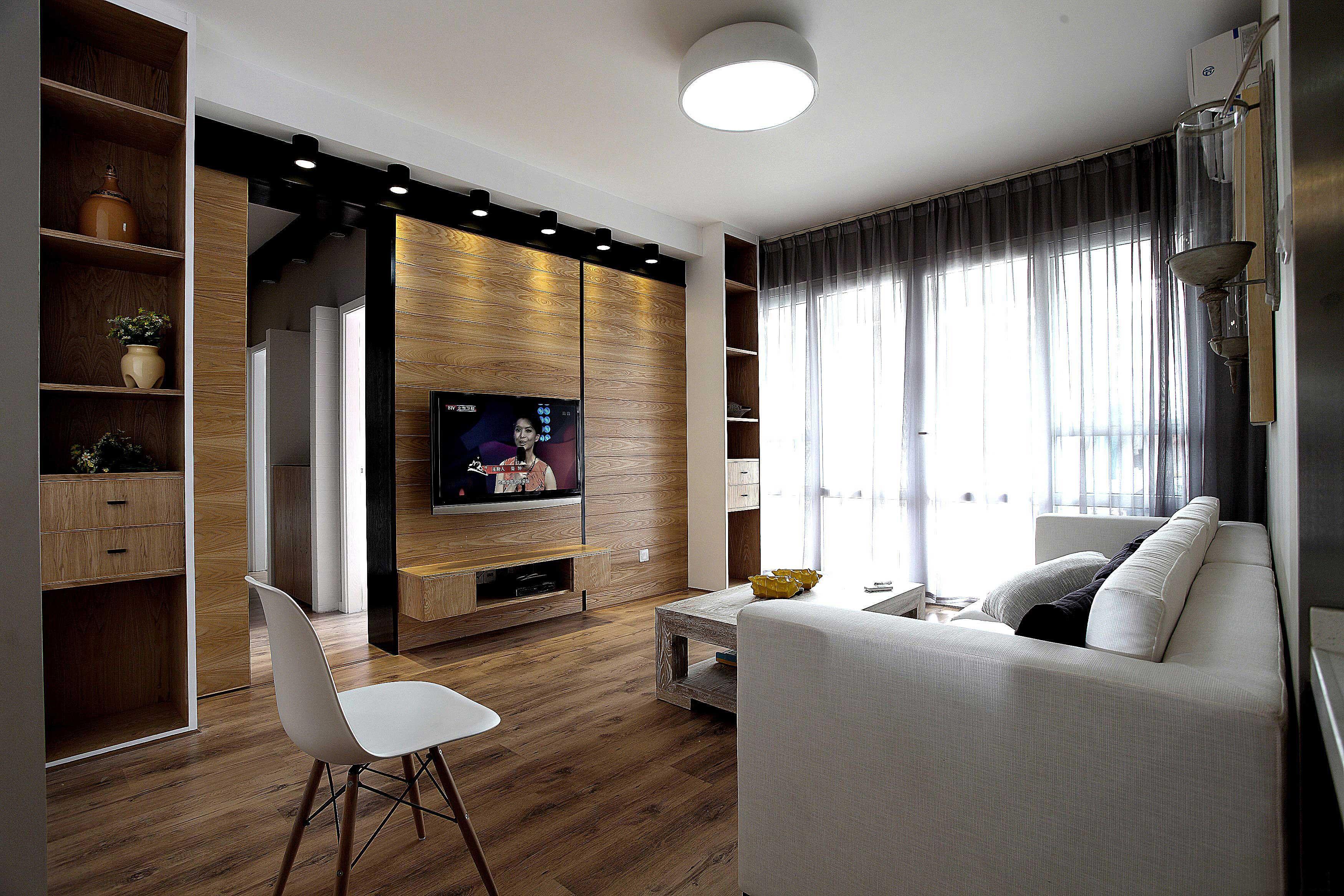 85平北欧风格两居装修隐形门设计图