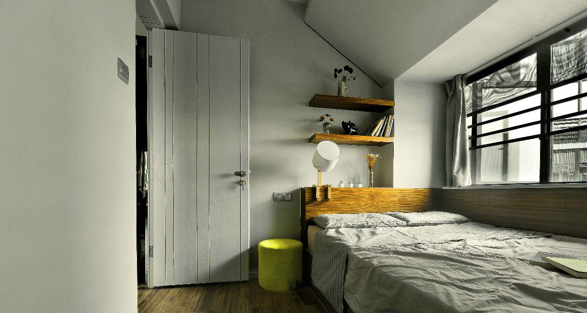 现代简约三居室装修卧室布置图