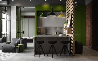 45平工业风公寓厨餐厅装修效果图