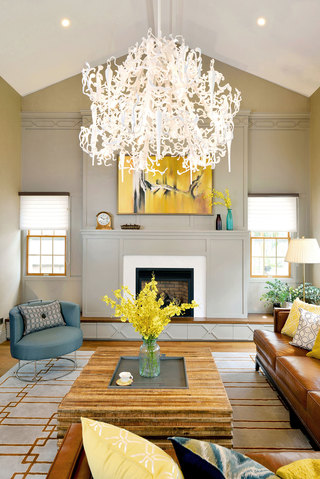 美式混搭风格别墅装修客厅吊灯设计图
