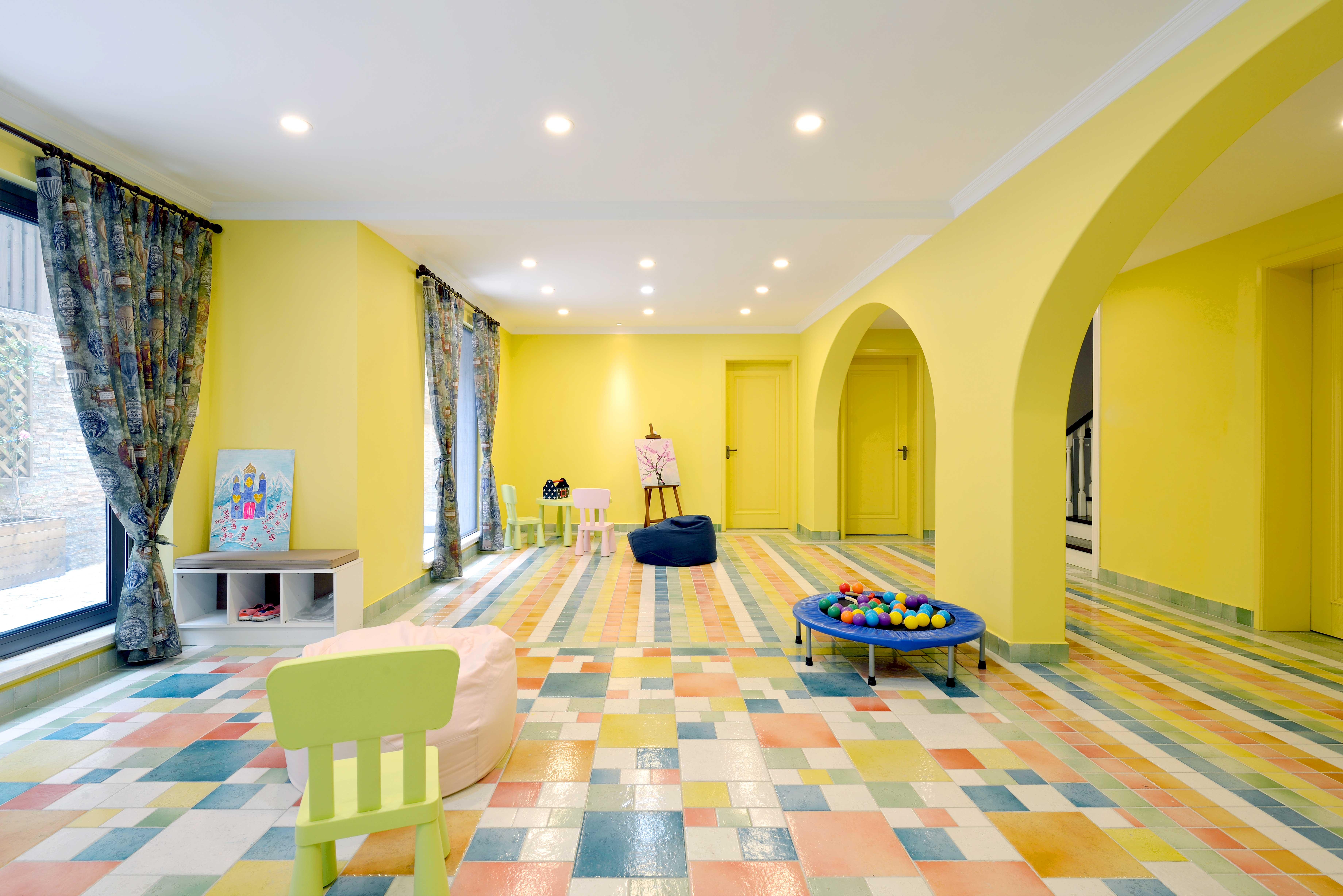 现代简美风格别墅装修弧形拱门设计图