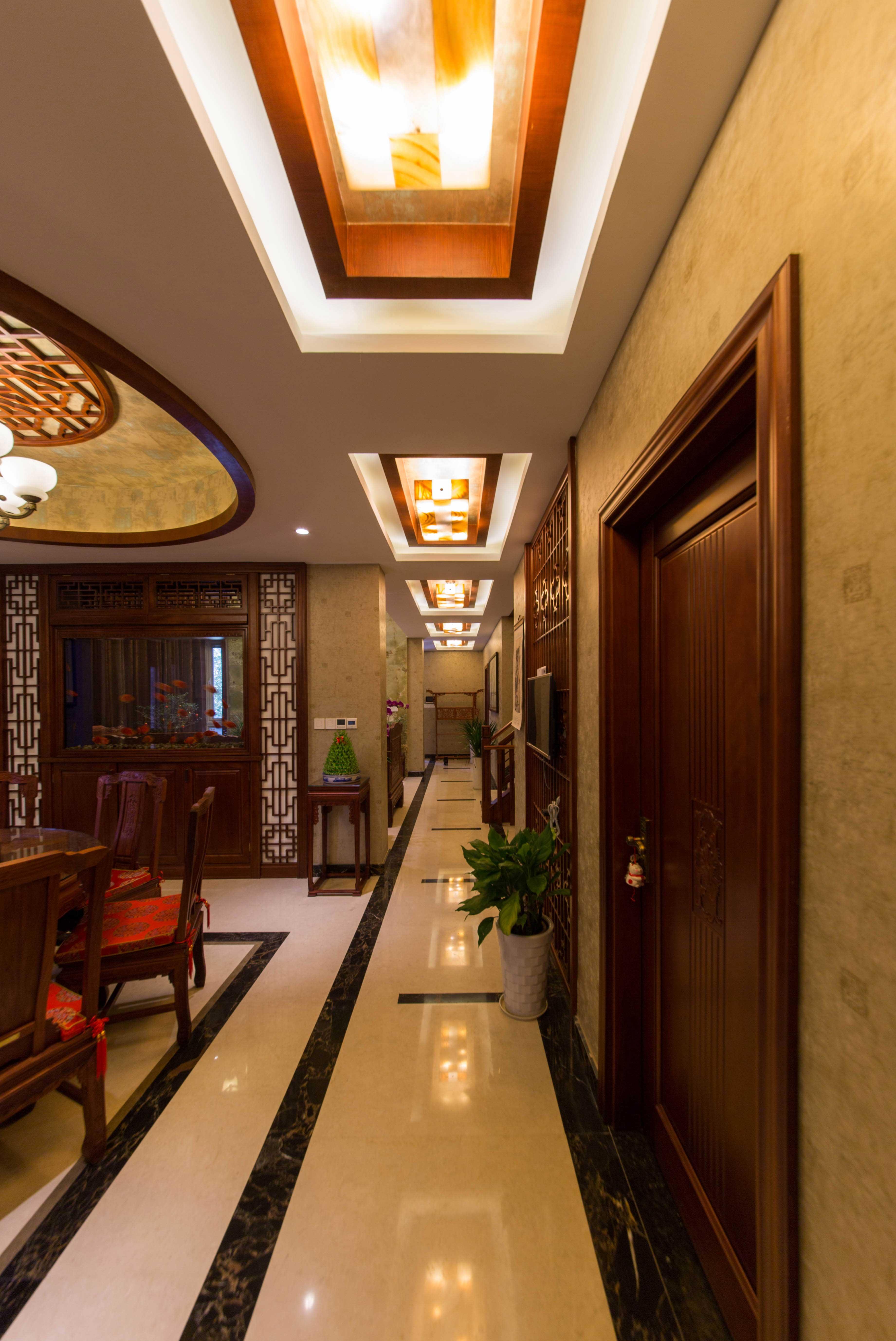 400平中式风格别墅装修过道效果图