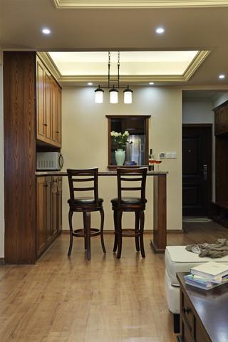 70㎡美式风格二居装修吧台设计图