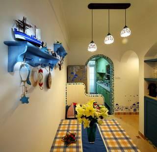地中海风格二居室装修餐厅背景墙设计图