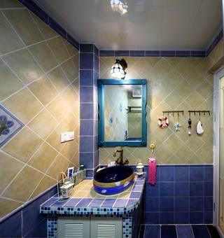 地中海风格二居室装修洗手台设计图
