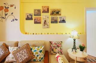 地中海田园混搭三居沙发背景墙装修效果图