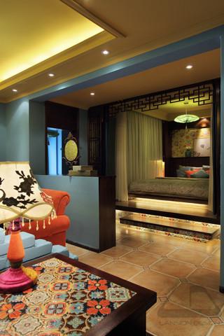 东南亚风格二居卧室地台设计图