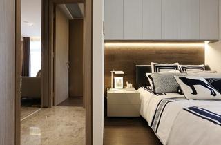 95平现代简约二居床头背景墙装修效果