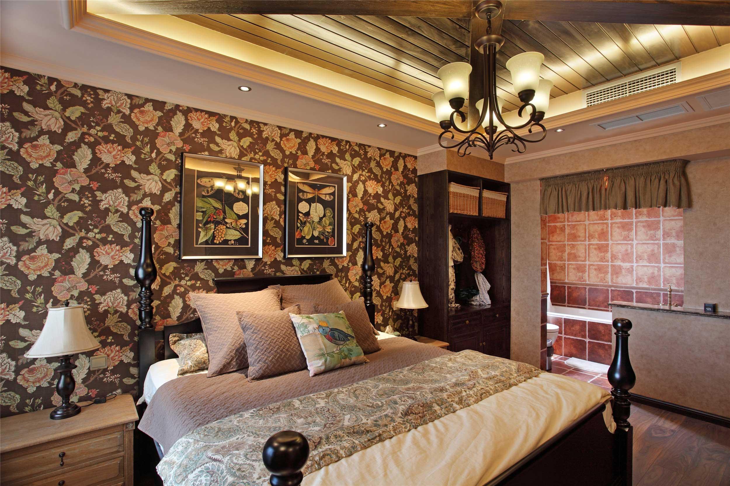 150平法式乡村风格床头背景墙装修效果图