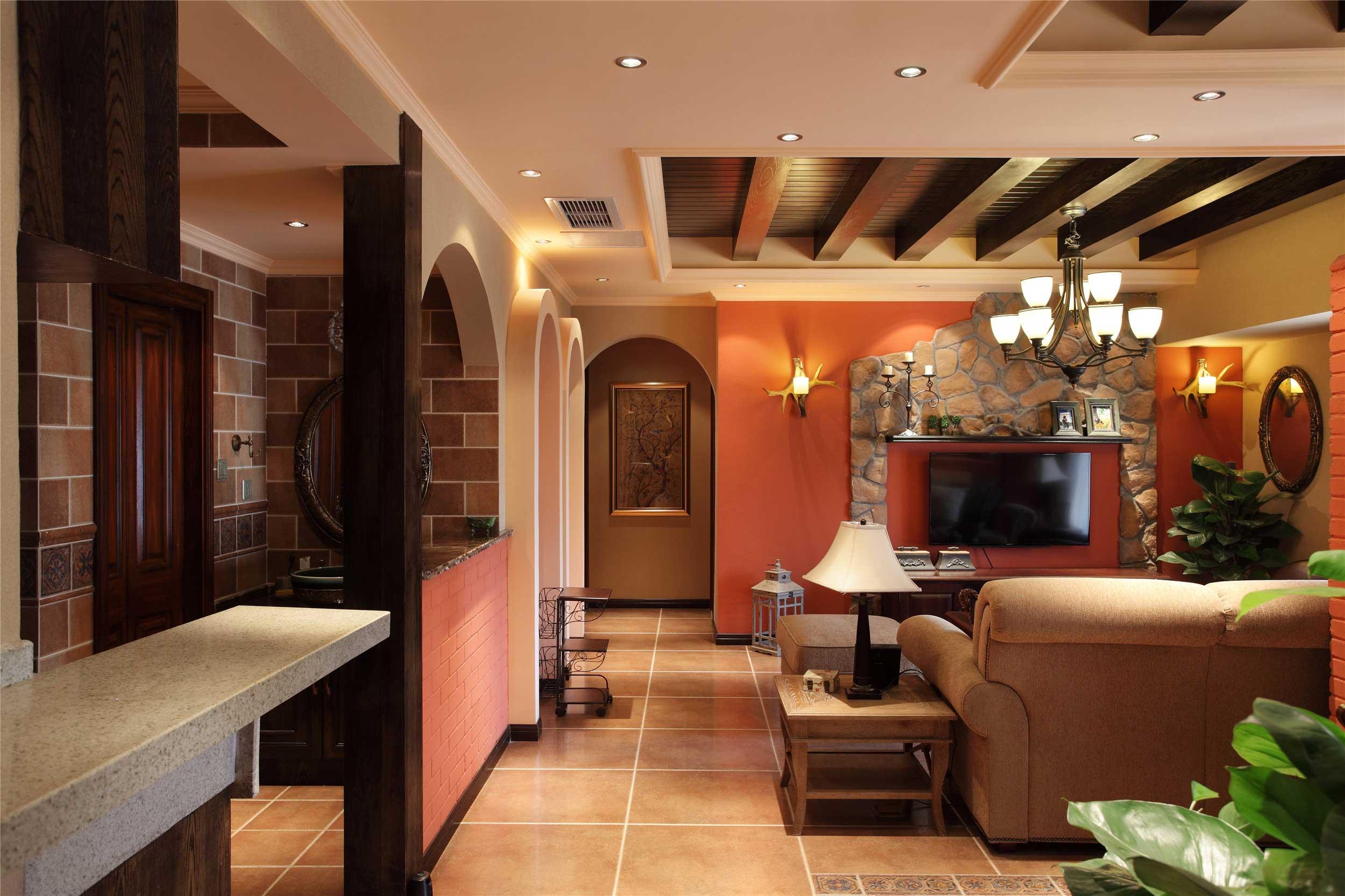 150平法式乡村风格装修客厅过道